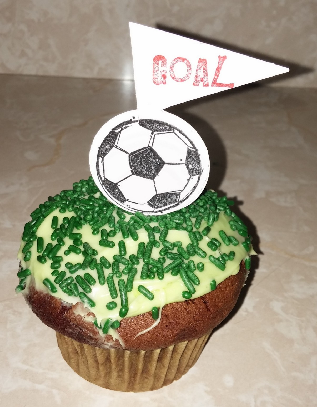 Soccer party cupcake